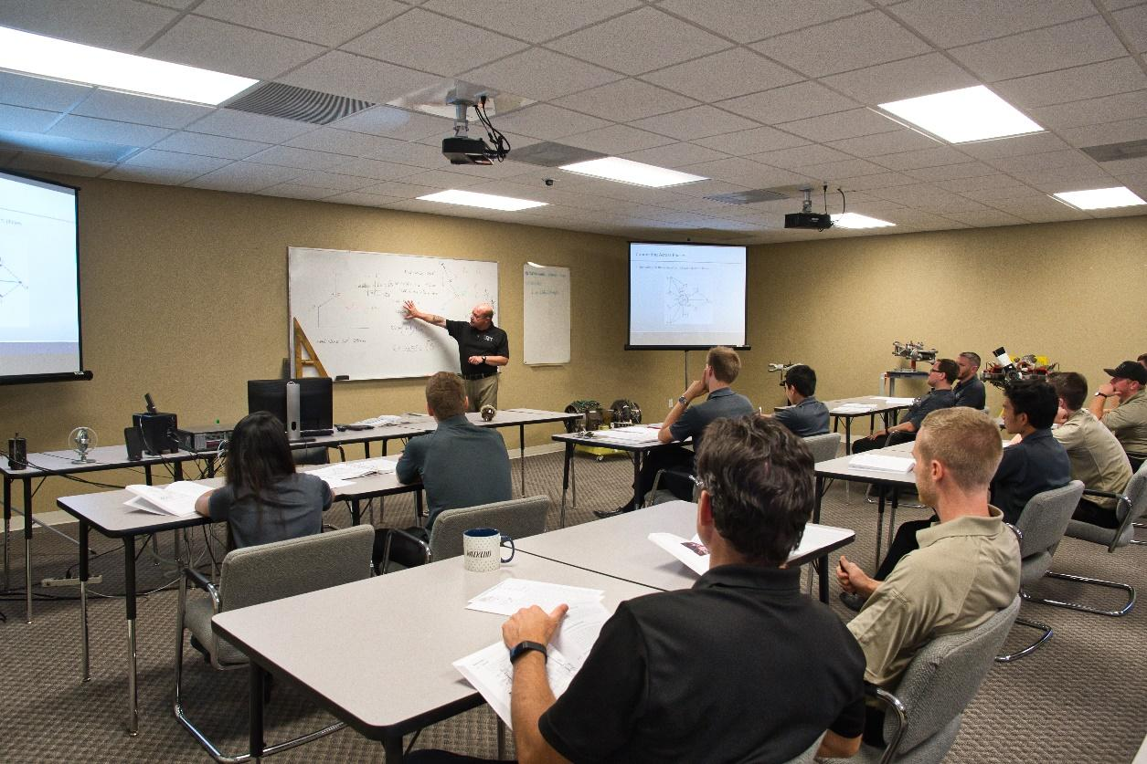 explicacion de profesor a pilotos alumnos en academia piloto helicopero usa